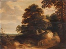 Attributed To Lodewijk de Vadder, Waldlandschaft mit Figurenstaffage und Hund