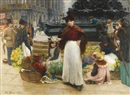 Benjamin Evans Ward, London flower girls, Piccadilly Circus