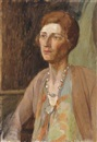 Jean Alexander, The Italian woman; Portrait of a woman in green and brown; Pearls in a green dress; gentleman in a brown suit; Man in a fez (5 works)