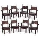Charles Rohlfs, Armchairs (set of 8)