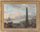 Abraham Jansz Storck, A capriccio of a large Dutch merchantman lying off a Mediterranean port, with elegant figures and traders on the quayside