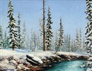 Duncan MacKinnon Crockford, River scene with snow-capped pines