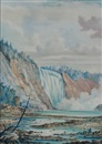 William Armstrong, Fishing under a waterfall, artist in the foreground
