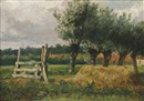 Anton Mauve, Landschap met knotwilgen: Landscape with willow trees