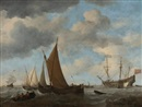 Willem van de Velde the Younger, A Smalschip Close-Hauled in a Fresh Breeze and a Ship at Anchor off the Dutch Coast (collab. w/studio)