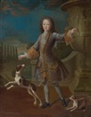 Attributed To Pierre Gobert, Portrait of Louis XV with two Dogs