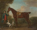 John Wootton, A groom and horse in a landscape with two hounds