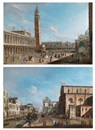 Master of the Langmatt Foundation Views, Venice, view of the Piazzetta looking north; Venice, view of the Campo Santi Giovanni e Paolo with the west end of the church and the Scuola di San Marco (pair)