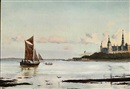 Ioannis (Jean H.) Altamura, View of Øresund with Kronborg Castle, in the foreground men rowing