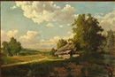 Attributed To Mikhail Petrovich (Baron) Klodt von Jurgensburg, Russian summer landscape with a hut, in the background a larger city