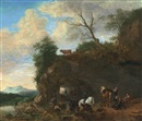 Follower Of Pieter Wouwerman, Figuren in einer Landschaft, trägt Monogramm PHW