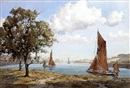 John Ernest Aitken, Estuary scene with sailing barges, possibly East Anglia