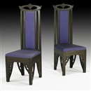 Charles Rohlfs, Tall-back chairs (pair)