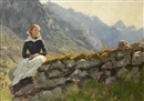 Hans Dahl, Girl seated on a stone wall