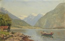 Hans Dahl, Figures in a rowing boat on a fjord