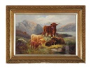 Angus Cameron, Cattle in the Highlands (+ A companion painting; 2 works)