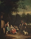 Circle Of Francesco Londonio, An wooded landscape with a shepherd and his flock conversing by a stone urn