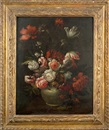 Simon Pietersz Verelst, Nature morte au bouquet de tulipes, pivoines et roses