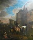 Circle Of Pieter van Bloemen, The Forge - Cavalry men outside the city walls