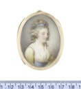 John Bogle, Mrs Anne Murray (Née Campbell-Colquhoun) (b. 1768), wearing yellow dress, her white fichu tucked into the sky blue sash at her waist...
