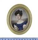 Charles Claude Noisot, A lady, wearing blue dress with short white puff sleeves and white under-dress with sheer long puff sleeves and lace trim to her décolleté...