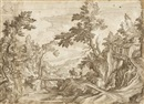 Circle Of Paul Bril, A horseman crossing a bridge in a wooded landscape, a town beyond (on joined sheets)