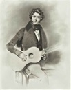 Circle Of Anne-Louis Girodet de Roucy-Trioson, Portrait of a young man with a guitar