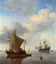 Willem van de Velde the Younger, A Calm - A smalschip and a kaag at anchor with an English man-o-war beyond