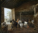 Pieter Wouwerman, A stable interior with two horses being saddled and other horses standing in their stalls