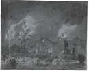 Egbert Lievensz van der Poel, Fireworks before a grand house; View of Greenwich (recto/verso)