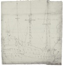 Willem van de Velde the Younger, Study of a ship: The Windsor Castle (on 2 sheets)