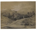 Thomas Gainsborough, Wooded landscape with shepherd, sheep and mountains