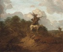 Thomas Gainsborough, A wooded landscape with a peasant, a horse and cattle