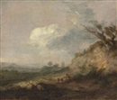 Thomas Gainsborough, A landscape with a shepherd and his dog, his flock resting by a dune in the foreground