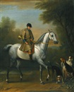 John Wootton, A huntsman on a grey hunter with hounds in a landscape