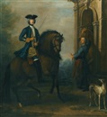 John Wootton, Portrait of a gentleman on horseback, probably James Douglas-Hamilton, 5th Duke of Hamilton and 2nd Duke of Brandon (1703-1743), mounted on a bay hunter, with his groom holding another horse by a classical arch, and a greyhound