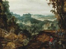 Circle Of Joos de Momper the Younger, A extensive wooded landscape with travellers on a track