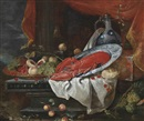 Circle Of Joris van Son, Peaches, plums and grapes in a gilt charger, a lobster on a porcelain plate, a porcelain jug, a façon de Venise glass, cherries, a loaf of bread and lemons on a partly-draped ledge, a landscape beyond