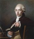 Jean Voilles, Portrait of Cesaire Gabriel Gerac (1755-1836), half-length, in a rust coat and red stock, holding an open book in his hands