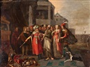 Circle Of Frans Francken the Younger, Creso mostrando sus tesoros a Solón