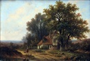 Hendrik Pieter Koekkoek, Lady and Dog in Country Landscape, Cottage Beyond