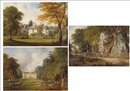 Circle Of James Holland, Horse and carriage with figures outside a country house; Country house with a figure on horseback; Country church with figures, a pond...(3 works)