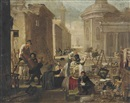 Circle Of Jan Miel, An auction in an Italianate street