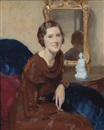 Walter Ernest Webster, Portrait of a lady, seated, three-quarter-length, in a brown cowl neck dress