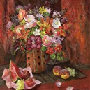 Mary Nicol Neill Armour, Still life with mixed flowers and fruit