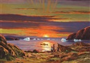 Eigil Sigurdson, Greenlandic fiord with sealers in the sunset