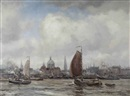Martin von Waning, The IJ with the Nicolaaskerk beyond