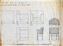 Anonymous-Scottish (20), Design for an upholstered chair and a spindle chair