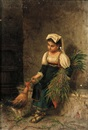 Gaetano Mormile, Portrait of a Woman Feeding a Rooster