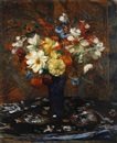 Jacques Emile Blanche, Still life of flowers in a blue vase